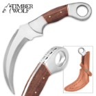 Timber Wolf Heartwood Karambit with Leather Sheath
