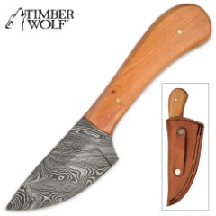 Timber Wolf MillenniaWood Damascus Skinner Knife with Leather Sheath