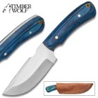 Timber Wolf Blue Elijah Carbon Steel Skinner Knife with Leather Sheath