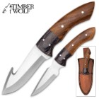 Timber Wolf Twin Buttes 2-Piece Fixed Blade Hunting Knife Set with Leather Sheath