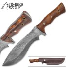 Timber Wolf Gurkha Woodmaster Damascus Fixed Blade Knife with Leather Sheath