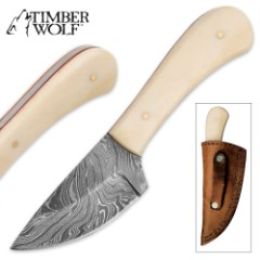 Timber Wolf Sheridan Damascus Skinner Fixed Blade Knife with Leather Sheath