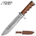 Timber Wolf Bridger Gap Damascus Hunting Knife with Leather Sheath