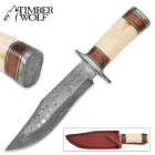Timber Wolf Bighorn Canyon Damascus Hunting Knife with Leather Sheath