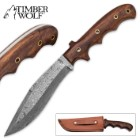Timber Wolf Absalom Damascus Bowie / Fixed Blade Knife with Leather Sheath