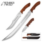 Timber Wolf Woodland Trident 3-Piece Knife Set - Bowie / Machete / Assisted Opening Folder - Brown
