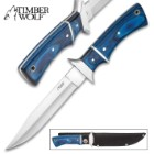 Timber Wolf Blue Moon Fixed Blade Knife And Sheath - Stainless Steel Blade, Pakkawood Handle, Stainless Steel Accents, Lanyard Hole - Length 11""