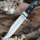 Timber Wolf Snake River Hunter Fixed Blade Knife And Sheath - Stainless Steel Blade, Bone And Pakkawood Handle, Rosette Accents - Length 11""