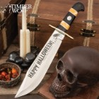 Timber Wolf 2019 Limited Edition Halloween Bowie Knife With Sheath - Stainless Steel Blade, Etchings, Bone And Wood Handle - Length 16""