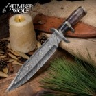 Timber Wolf Prairie Moon Damascus Bowie Knife with Genuine Leather Sheath