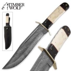 Timber Wolf Buffalo Damascus Bowie Knife