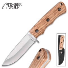 Timber Wolf Zebra Wood Fixed Blade Knife And Sheath - Stainless Steel Blade, Full Tang, Zebra Wood Handle - Length 8""