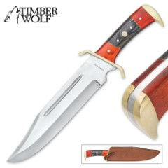 Timber Wolf Crimson And Ebony Bowie Knife