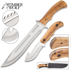 """Timber Wolf Wildstreak 2-Piece Zebrawood Fixed Blade Knife Set - 8 1/2"""" Gut Hook and 15 3/4"""" Bowie - 420 Stainless Steel - Genuine Zebrawood - Nylon Belt Sheath - Outdoors, Survival, Collecting & More"""