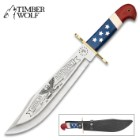 Timber Wolf 2018 American Independence Bowie / Fixed Blade Knife - Collectible Limited Edition, Laser Serialized - 3Cr13 Stainless Steel, Patriotic Blade Etchings - USA Flag Handle Theme - 16""