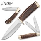 Timber Wolf The Legend Of The Pack Three-Piece Knife Set - Stainless Steel Blades, Wooden Handles, Brass Accents