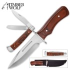 Timber Wolf Cinder & Smoke Two-Piece Fixed Blade And Pocket Knife Set With Nylon Belt Sheath - Carbon Steel Blades; Pakkawood Handles