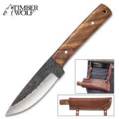 Timber Wolf Bushman Fixed Blade Knife With Sheath – Forged Steel Blade, Wooden Handle Scales, Lanyard Hole – Length 9""