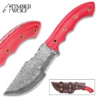 Timber Wolf Voyager Fixed Blade Knife - Hand Forged Damascus Steel - Full Tang - Red Pakkawood - Genuine Leather Sheath - Bowie Tracker Survival Multipurpose Utility Outdoors Chop Saw - 9 3/4""