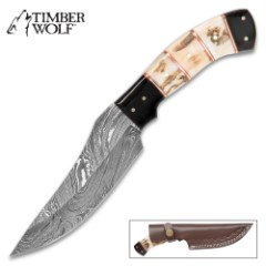 Timber Wolf Buckhorn Hunting Knife - Damascus Steel Fixed Blade Trailing Point - Staghorn Deer Antler Buffalo Horn Handle - Leather Sheath - Skinning, Slicing, Field Dressing, Game, Hunter, Outdoors