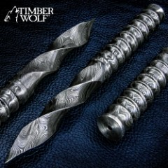 Timber Wolf Damascus Steel Spiral Dagger With Leather Sheath - Damascus Steel Construction, Ridged Handle - Length 9""