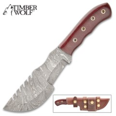 Timber Wolf Blood Trail Tracker Knife With Sheath - Damascus Steel Blade, Full-Tang, Micarta Handle Scales, Lashing Holes - Length 10""