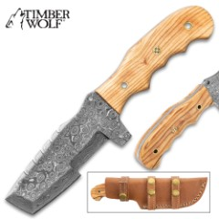 Timber Wolf Shifting Sands Knife - Damascus Steel Blade, Full-Tang, Olive Wood Handle Scales, Rosette Accent - Length 9""