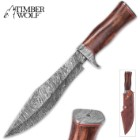 Timber Wolf Mountaineer Damascus Fixed Blade Knife With Leather Sheath – Damascus Steel Blade, Pommel And Guard – Wooden Handle, Brass Accents – Length 14 1/4""