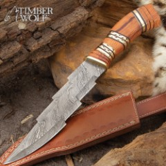 Timber Wolf Lightning Striker Knife With Sheath - Damascus Steel Blade, Genuine Horn And Olive Wood Handle, Brass Accents - Length 13 1/2""