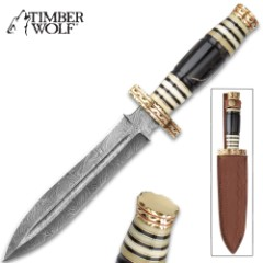 Timber Wolf Serengeti Dagger With Sheath - Damascus Steel Blade, Genuine Horn Handle, Brass Spacers - Length 13 1/2""