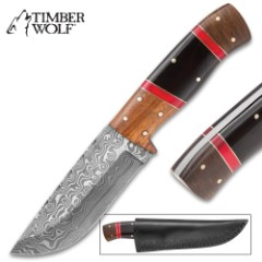 """Timber Wolf Syrian Dynasty Fixed Blade Knife – Damascus Steel Blade, Genuine Wood and Bone Handle, Brass Spacers – Length 9 1/4"""""""