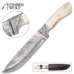 Timber Wolf Awakening Handmade Bowie / Fixed Blade Knife - Hand Forged Damascus Steel, Unique Feather Pattern - Genuine Bone Handle - Leather Sheath - Collecting, Outdoors, Display and More - 13""