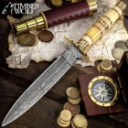 Timber Wolf Joaquin Handmade Dagger / Fixed Blade Knife - Hand Forged Damascus Steel - Genuine Bone Handle - Leather Sheath - Collecting, Field Use, Display and More - 13""