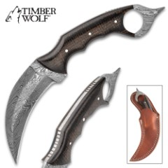 Timber Wolf Midnight Micarta Karambit Knife With Sheath – Damascus Steel Blade, Micarta Handle Scales – Length 9 1/4""