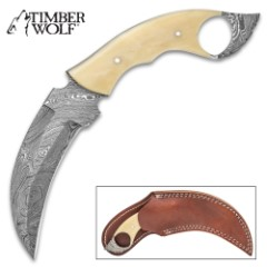 Timber Wolf Creamy Bone Karambit Knife With Sheath – Damascus Steel Blade, Micarta Handle Scales – Length 9 1/4""