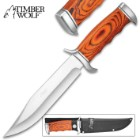 Timber Wolf Forest Hill Knife With Sheath - Stainless Steel Blade, Pakkawood Handle, Stainless Steel Guard And Pommel - Length 12""