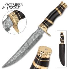 "Timber Wolf Luxor Fixed Blade Knife - Damascus Steel Blade, Buffalo Horn Handle, Brass Pommel - Length 14 1/4"""
