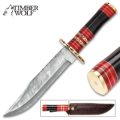 Timber Wolf Mediterranean Basin Bowie Knife– Damascus Steel Blade, Buffalo Horn Handle, Brass Guard And Pommel – Length 13 1/2""