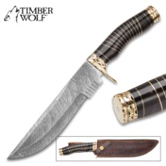 Timber Wolf Crucible Handmade Bowie / Fixed Blade Knife - Hand Forged Damascus Steel, File Worked Accents - Genuine Buffalo Horn - Scalloped, Grooved Brass - Leather Belt Sheath - Unique, Rare - 13""