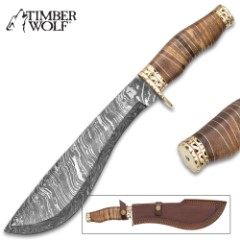 "Timber Wolf Masai Warrior Knife With Sheath - Damascus Steel Blade, Walnut Wood Handle - Length 15 1/4"""