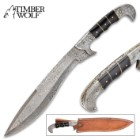 Timber Wolf Osiris Machete - Damascus Steel Blade, Wooden Handle Scales, Filework, Brass Pins, Damascus Steel Pommel - Length 18""