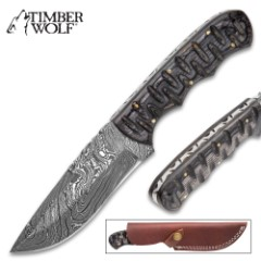 """Timber Wolf Black Hills Fixed Blade Knife With Sheath – Damascus Steel Blade, Fileworked Spine, Pakkawood Handle Scales – Length 9"""""""