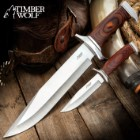 Timber Wolf Two-Piece Trekker Knife Set And Sheath - Stainless Steel Blades, Pakkawood Handles, Stainless Steel Guard And Pommel