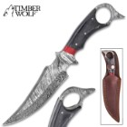 Timber Wolf Aggressor Fixed Blade Knife With Sheath - Damascus Steel Blade, Pakkawood Handle, Open Ring Pommel - Length 12""