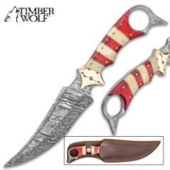 "Timber Wolf Crimson Aggressor Fixed Blade Knife With Sheath - Damascus Steel Blade, Buffalo Horn Handle - Length 12"""