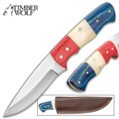 """Timber Wolf Patriot Fixed Blade Knife With Sheath – Stainless Steel Blade, Wooden Handle, Stainless Pins – Length 8"""""""