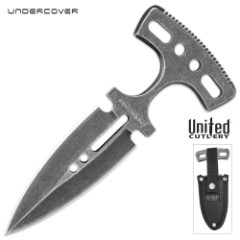 Undercover Stonewashed Magnum Push Dagger - One-Piece Stainless Steel Construction, Double-Edged Blade, No-Slip Grip