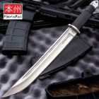 "United Cutlery Honshu Full Tang Tanto Knife And Leather Sheath - Thick 440 Stainless Steel, Overmolded Rubberized Grip - 16 3/4"" Length"