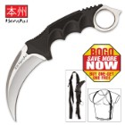 Honshu Silver Karambit With Shoulder Harness Sheath - BOGO