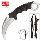 Silver Honshu Karambit With Shoulder Harness Sheath